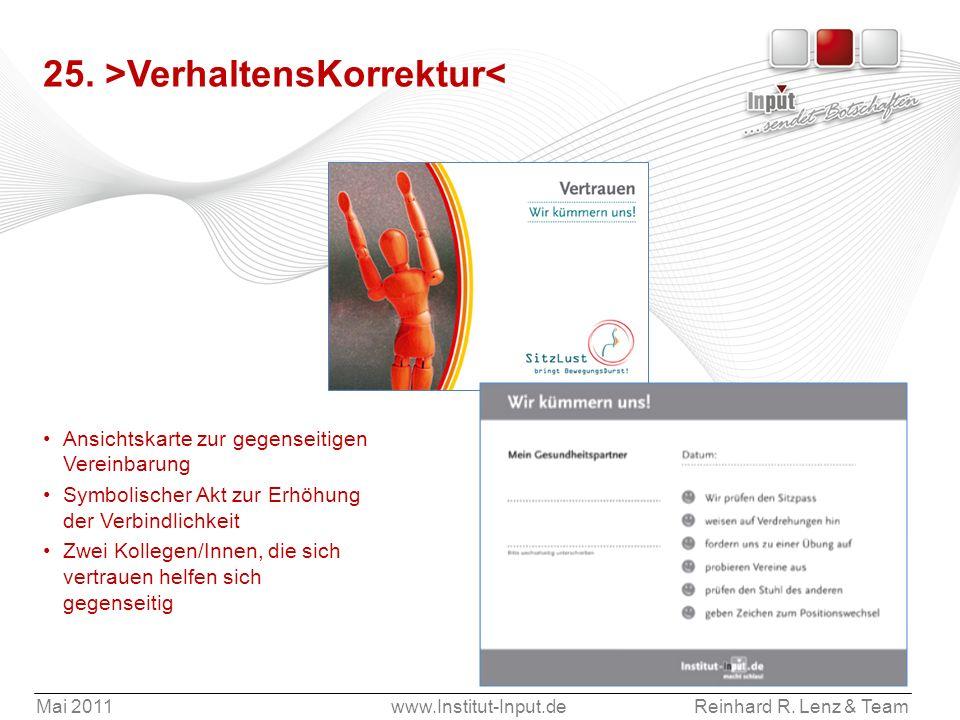 Mai 2011www.Institut-Input.deReinhard R. Lenz & Team 25. >VerhaltensKorrektur< Ansichtskarte zur gegenseitigen Vereinbarung Symbolischer Akt zur Erhöh