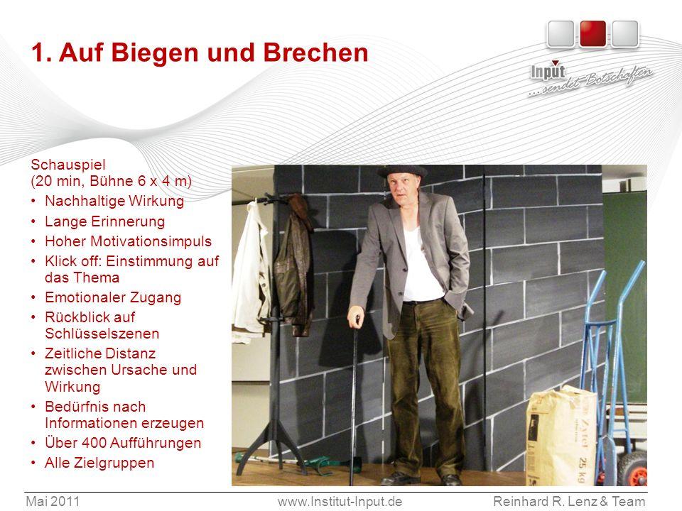 Mai 2011www.Institut-Input.deReinhard R. Lenz & Team 1. Auf Biegen und Brechen Schauspiel (20 min, Bühne 6 x 4 m) Nachhaltige Wirkung Lange Erinnerung