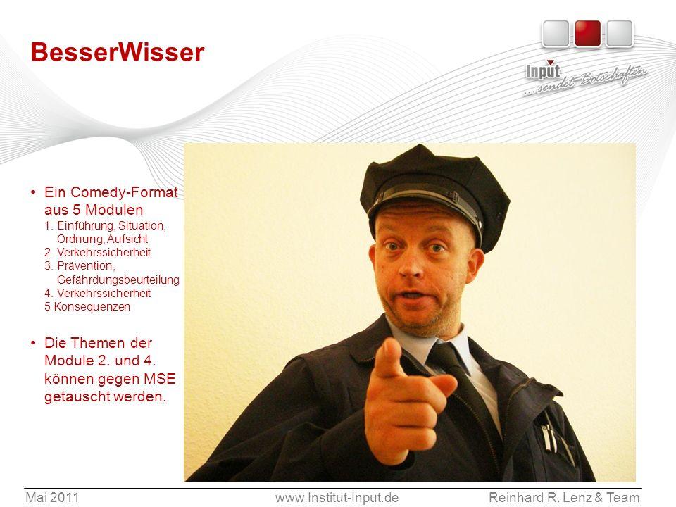 Mai 2011www.Institut-Input.deReinhard R. Lenz & Team BesserWisser Ein Comedy-Format aus 5 Modulen 1. Einführung, Situation, Ordnung, Aufsicht 2. Verke