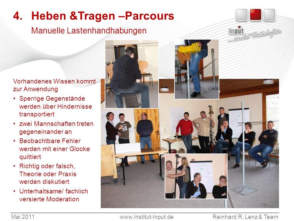 Mai 2011www.Institut-Input.deReinhard R. Lenz & Team 4. Heben &Tragen –Parcours Manuelle Lastenhandhabungen Vorhandenes Wissen kommt zur Anwendung Spe