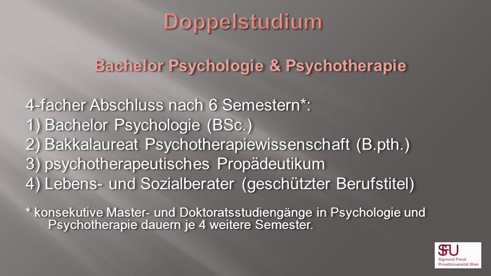 Bachelor Psychologie & Psychotherapie 4-facher Abschluss nach 6 Semestern*: 1) Bachelor Psychologie (BSc.) 2) Bakkalaureat Psychotherapiewissenschaft