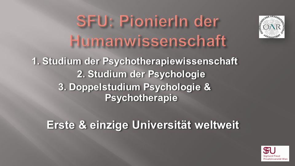 1. Studium der Psychotherapiewissenschaft 2. Studium der Psychologie 3. Doppelstudium Psychologie & Psychotherapie Erste & einzige Universität weltwei