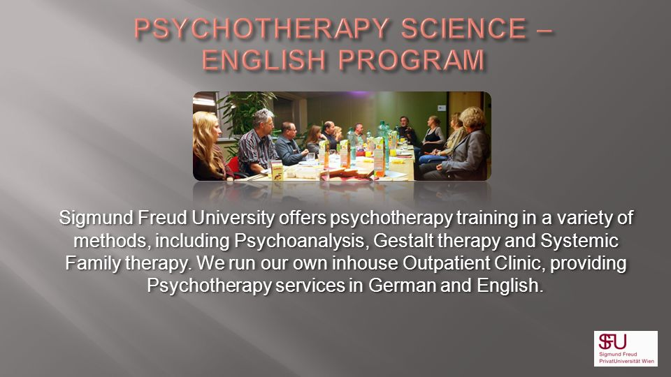 Baccalaureate, Magisterium and Doctoral Programmes Our Degree Programmes in Psychotherapy Sciences are also offered in English.