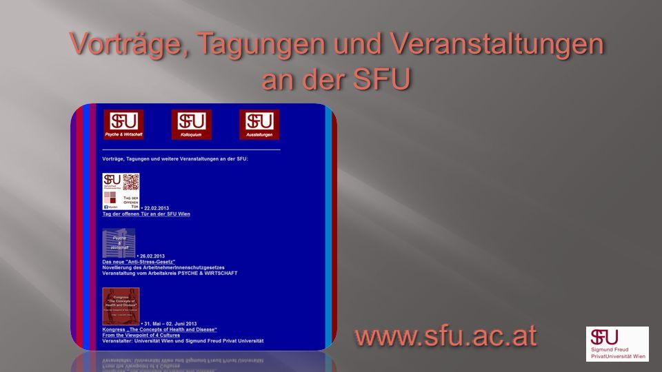 Vorträge, Tagungen und Veranstaltungen an der SFU