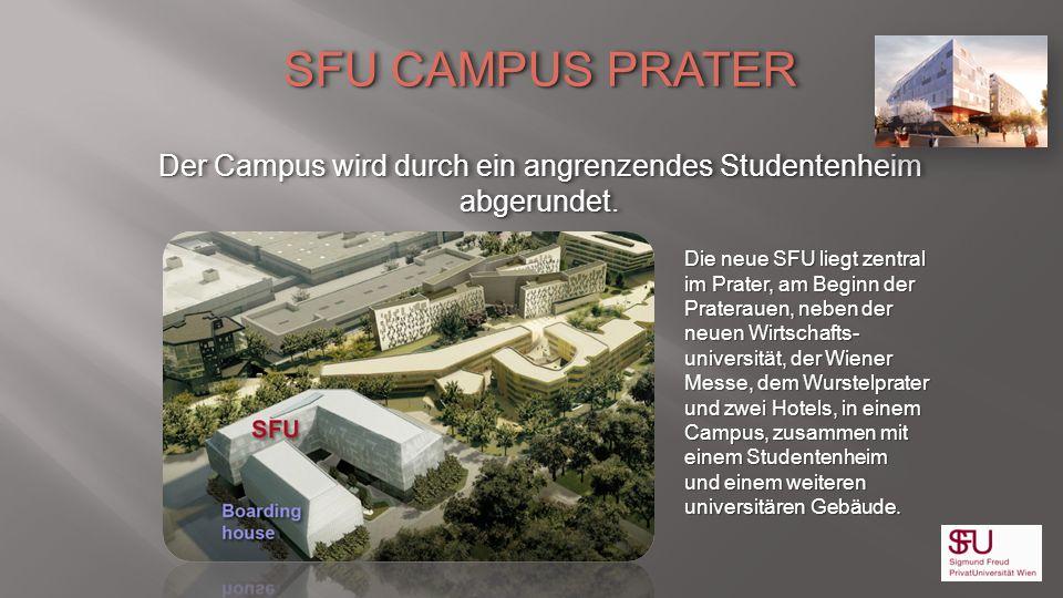 SFU CAMPUS PRATER Der Campus wird durch ein angrenzendes Studentenheim abgerundet. SFU CAMPUS PRATER Der Campus wird durch ein angrenzendes Studentenh