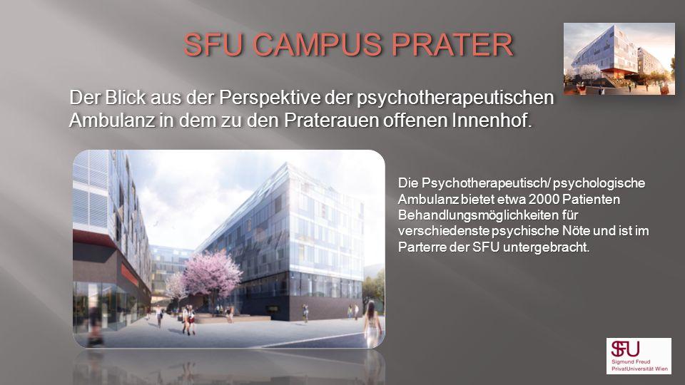 SFU CAMPUS PRATER Der Blick aus der Perspektive der psychotherapeutischen Ambulanz in dem zu den Praterauen offenen Innenhof. SFU CAMPUS PRATER Der Bl