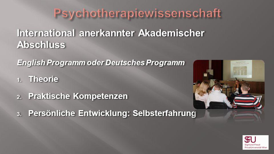 International anerkannter Akademischer Abschluss English Programm oder Deutsches Programm 1. Theorie 2. Praktische Kompetenzen 3. Persönliche Entwickl