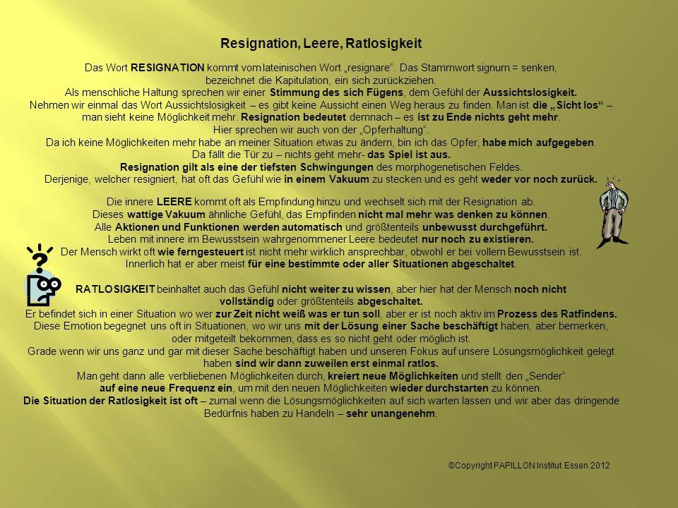 Resignation, Leere, Ratlosigkeit Das Wort RESIGNATION kommt vom lateinischen Wort resignare. Das Stammwort signum = senken, bezeichnet die Kapitulatio