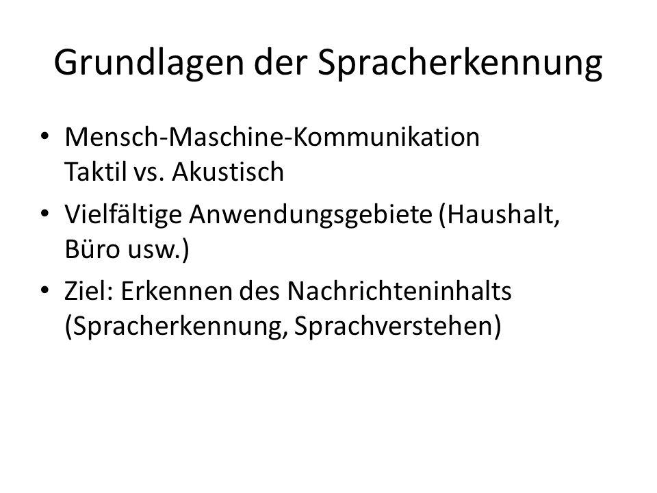 Grundlagen der Spracherkennung Mensch-Maschine-Kommunikation Taktil vs.