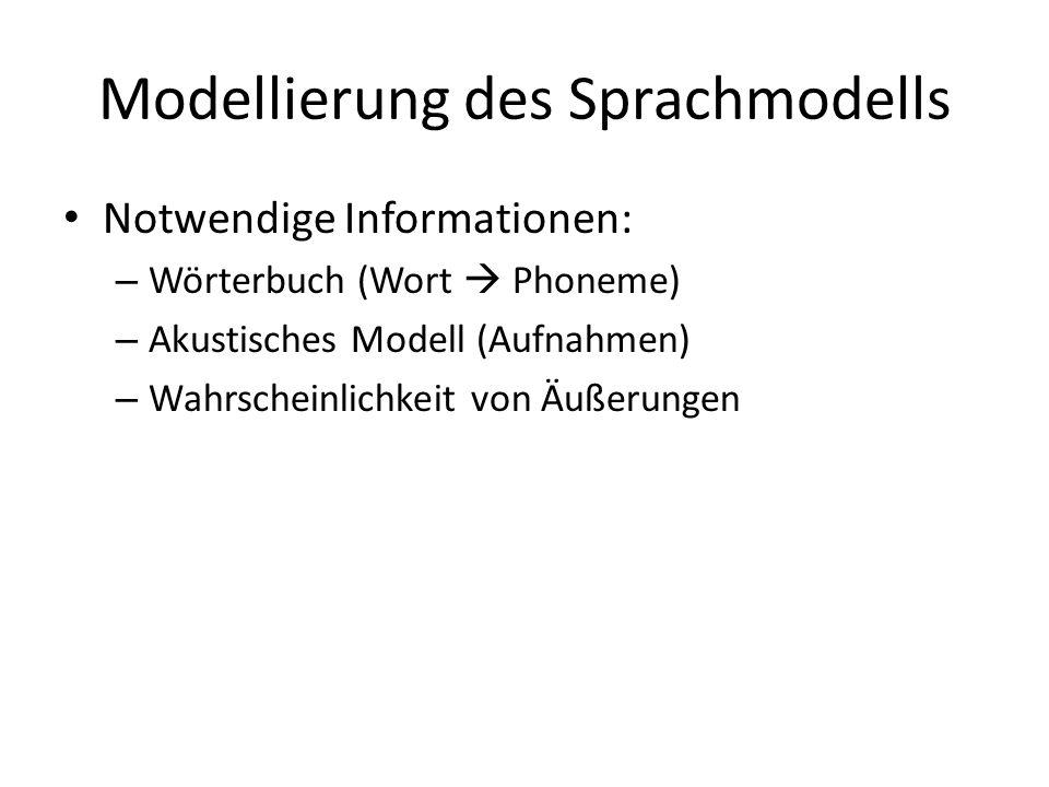 Modellierung des Sprachmodells Notwendige Informationen: – Wörterbuch (Wort Phoneme) – Akustisches Modell (Aufnahmen) – Wahrscheinlichkeit von Äußerungen
