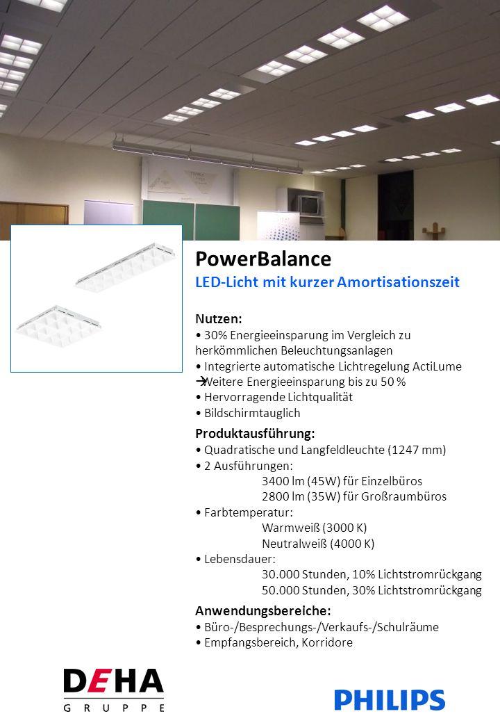 PowerBalance LED-Licht mit kurzer Amortisationszeit Nutzen: 30% Energieeinsparung im Vergleich zu herkömmlichen Beleuchtungsanlagen Integrierte automatische Lichtregelung ActiLume Weitere Energieeinsparung bis zu 50 % Hervorragende Lichtqualität Bildschirmtauglich Produktausführung: Quadratische und Langfeldleuchte (1247 mm) 2 Ausführungen: 3400 lm (45W) für Einzelbüros 2800 lm (35W) für Großraumbüros Farbtemperatur: Warmweiß (3000 K) Neutralweiß (4000 K) Lebensdauer: 30.000 Stunden, 10% Lichtstromrückgang 50.000 Stunden, 30% Lichtstromrückgang Anwendungsbereiche: Büro-/Besprechungs-/Verkaufs-/Schulräume Empfangsbereich, Korridore