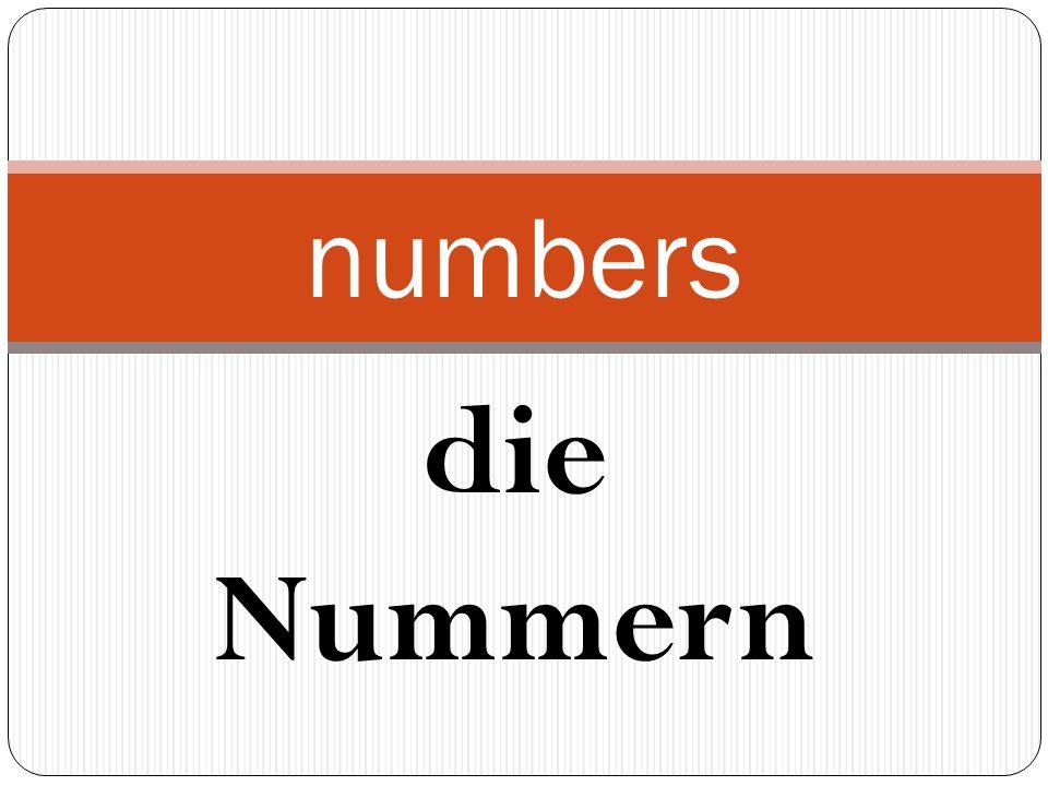 die Nummern numbers