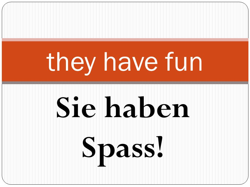 Sie haben Spass! they have fun