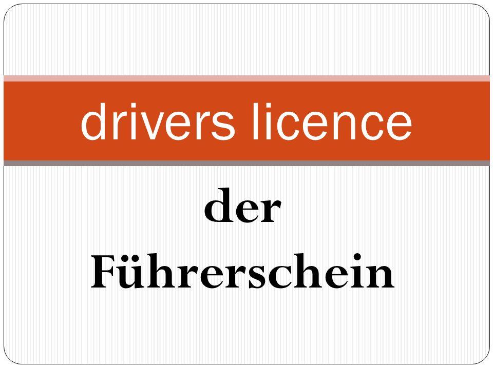 der Führerschein drivers licence