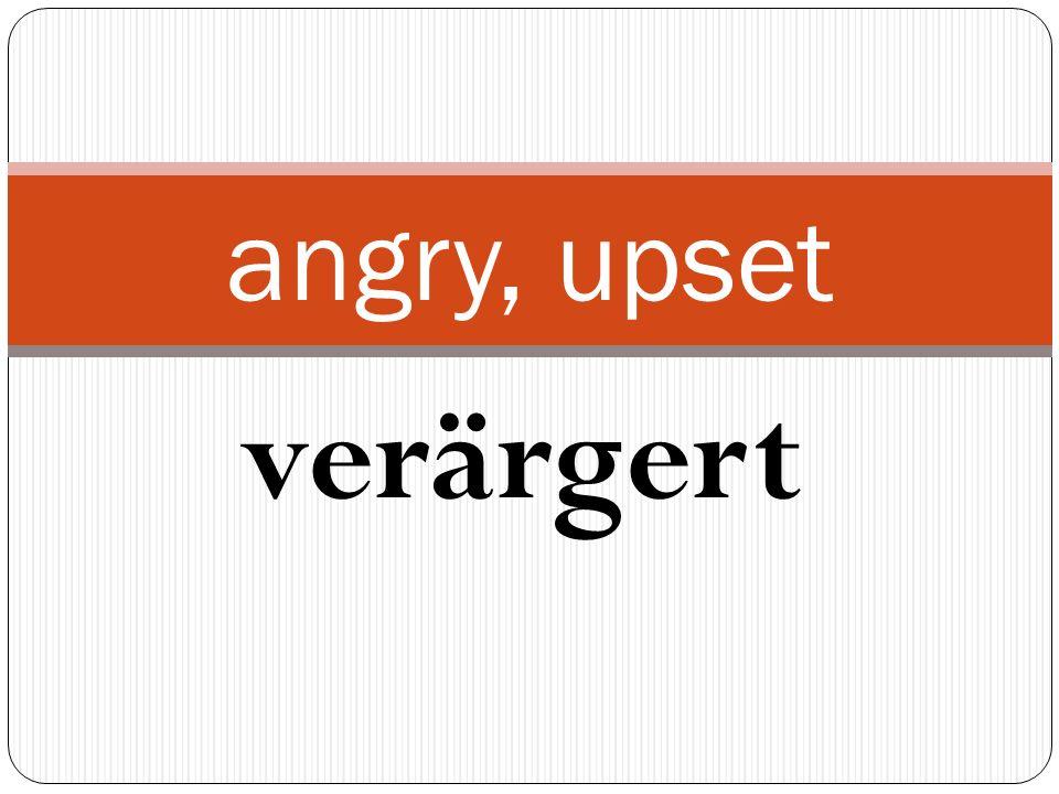 verärgert angry, upset