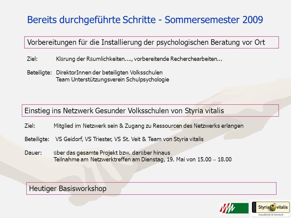 Vorbereitungen für die Installierung der psychologischen Beratung vor Ort Einstieg ins Netzwerk Gesunder Volksschulen von Styria vitalis Ziel: Mitglie