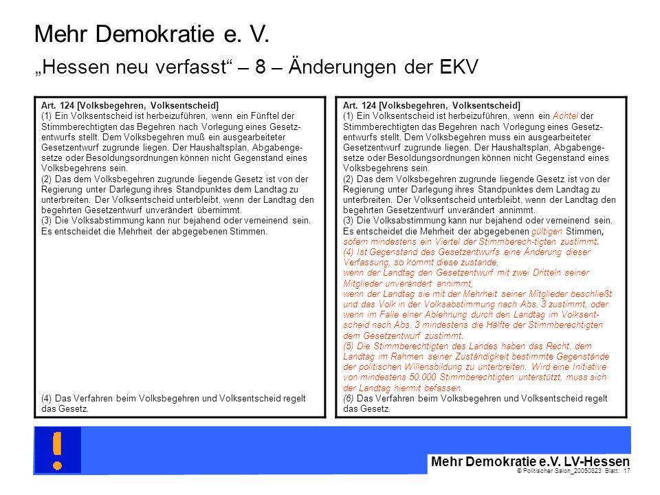 © Politischer Salon_20050823 Blatt: 17 Mehr Demokratie e.V. LV-Hessen Mehr Demokratie e. V. Art. 124 [Volksbegehren, Volksentscheid] (1) Ein Volksents