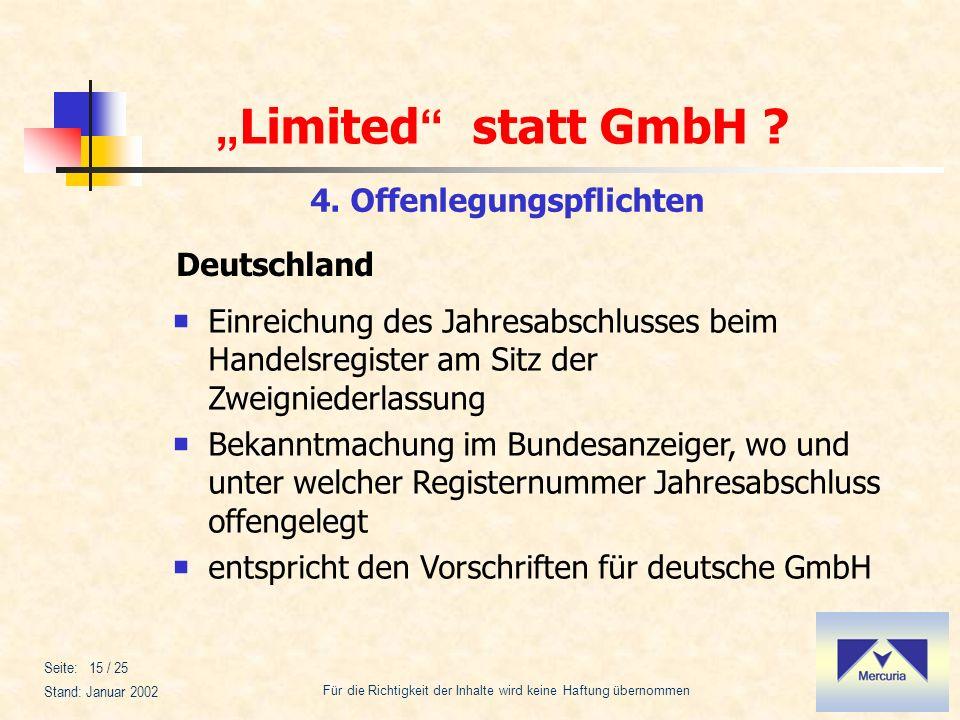 Limited statt GmbH ? Für die Richtigkeit der Inhalte wird keine Haftung übernommen Stand: Januar 2002 Seite: 15 / 25 4. Offenlegungspflichten Deutschl