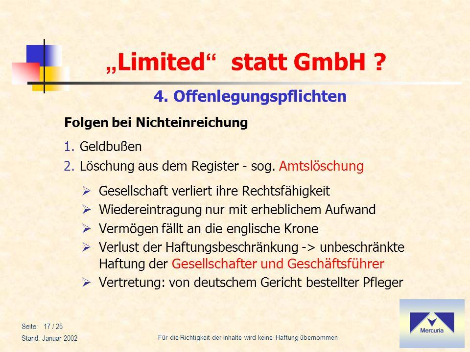 Limited statt GmbH ? Für die Richtigkeit der Inhalte wird keine Haftung übernommen Stand: Januar 2002 Seite: 17 / 25 1.Geldbußen 2.Löschung aus dem Re