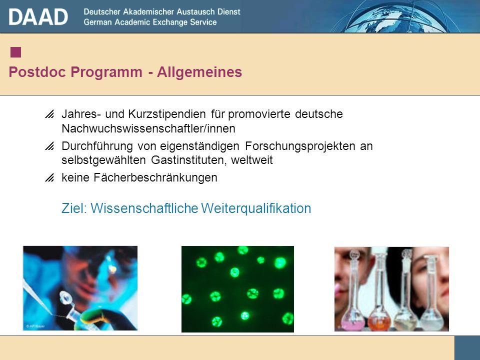 Postdoc Programm - Allgemeines Jahres- und Kurzstipendien für promovierte deutsche Nachwuchswissenschaftler/innen Durchführung von eigenständigen Fors
