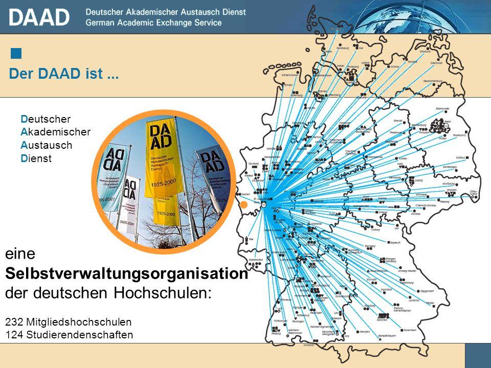 Der DAAD hat 232 Mitgliedshochschulen 14 Außenstellen und Büro Berlin 48 Informationszentren (IC) 414 DAAD-Lektorate Ca.