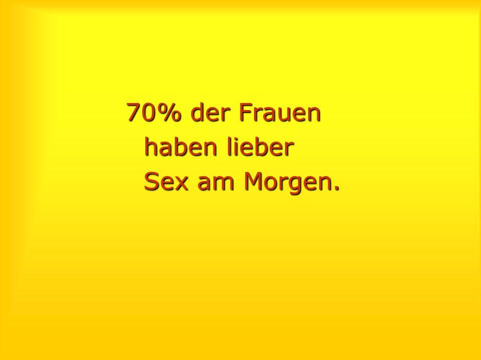 70% der Frauen haben lieber Sex am Morgen.