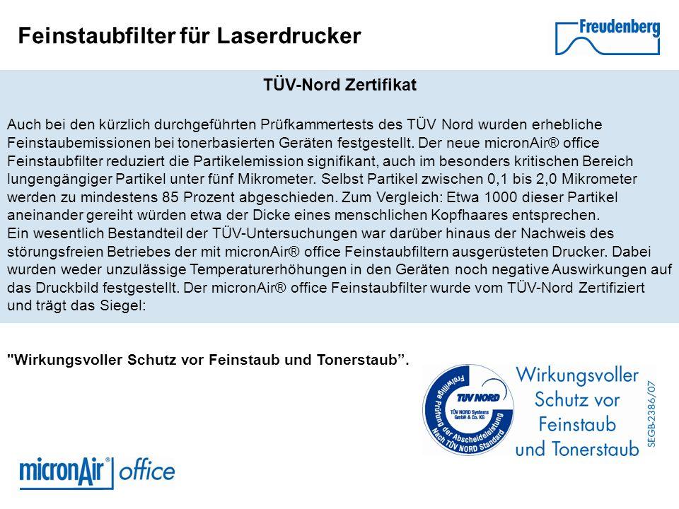 Feinstaubfilter für Laserdrucker TÜV-Nord Zertifikat Auch bei den kürzlich durchgeführten Prüfkammertests des TÜV Nord wurden erhebliche Feinstaubemis