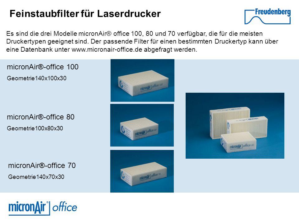 Feinstaubfilter für Laserdrucker micronAir®-office 100 Geometrie140x100x30 micronAir®-office 80 Geometrie100x80x30 micronAir®-office 70 Geometrie140x7