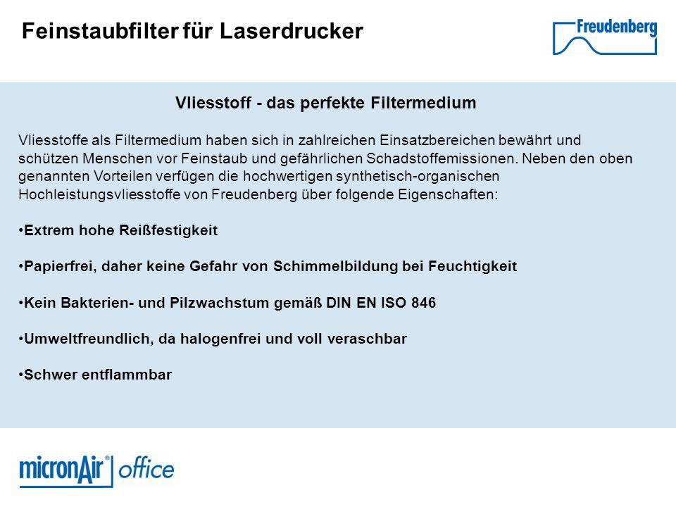 Feinstaubfilter für Laserdrucker Freudenberg - weltweit führend im Bereich Filtrationstechnologie und Vliesstoffe Freudenberg greift auf langjähriges Know-how bei der Entwicklung und Herstellung von Filtern aus Vliesstoffen zurück.