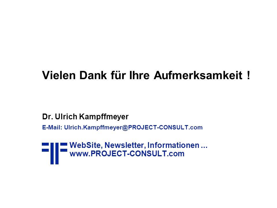 Vielen Dank für Ihre Aufmerksamkeit ! Dr. Ulrich Kampffmeyer E-Mail: Ulrich.Kampffmeyer@PROJECT-CONSULT.com WebSite, Newsletter, Informationen... www.