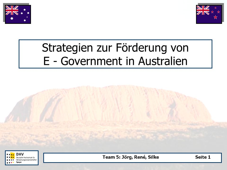 Team 5: Jörg, René, SilkeSeite 1 Strategien zur Förderung von E - Government in Australien