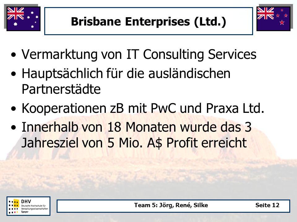 Team 5: Jörg, René, SilkeSeite 12 Brisbane Enterprises (Ltd.) Vermarktung von IT Consulting Services Hauptsächlich für die ausländischen Partnerstädte Kooperationen zB mit PwC und Praxa Ltd.