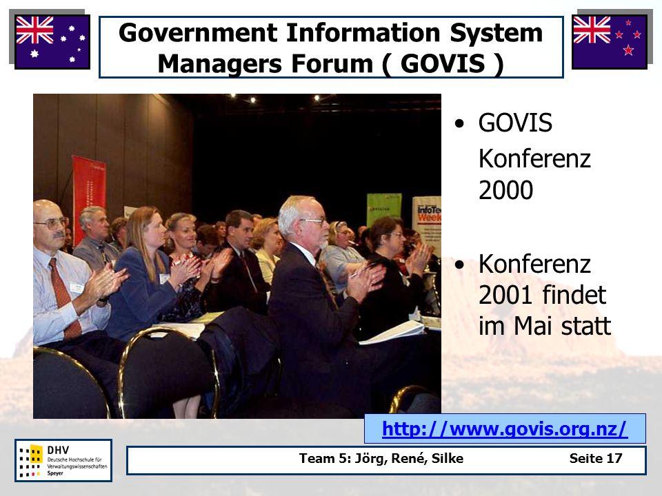 Team 5: Jörg, René, SilkeSeite 17 Government Information System Managers Forum ( GOVIS ) GOVIS Konferenz 2000 Konferenz 2001 findet im Mai statt http://www.govis.org.nz/