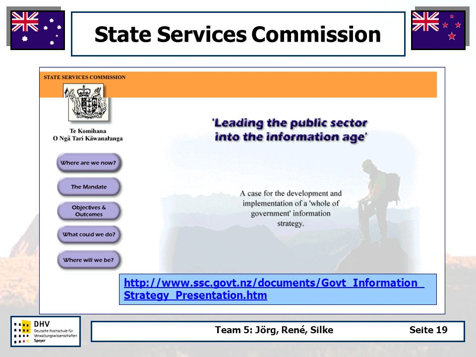 Team 5: Jörg, René, SilkeSeite 19 State Services Commission http://www.ssc.govt.nz/documents/Govt_Information_ Strategy_Presentation.htm