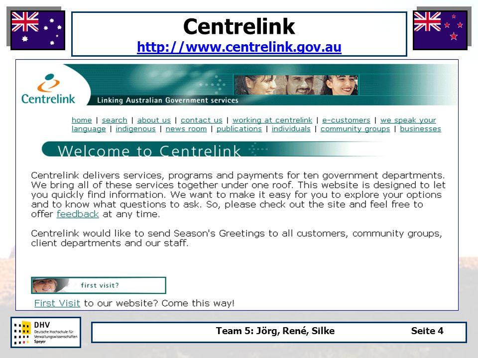 Team 5: Jörg, René, SilkeSeite 4 Centrelink http://www.centrelink.gov.au http://www.centrelink.gov.au