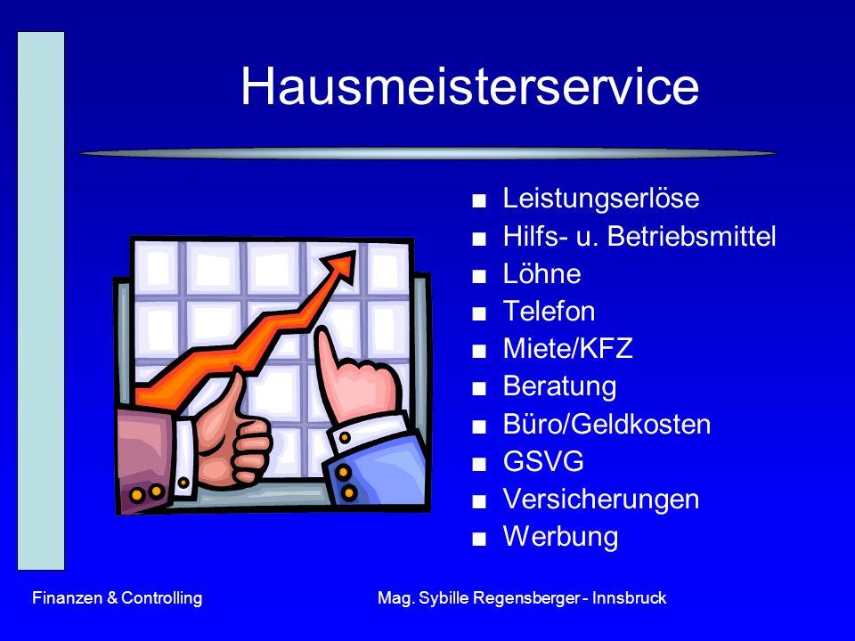 Finanzen & ControllingMag. Sybille Regensberger - Innsbruck Hausmeisterservice Leistungserlöse Hilfs- u. Betriebsmittel Löhne Telefon Miete/KFZ Beratu