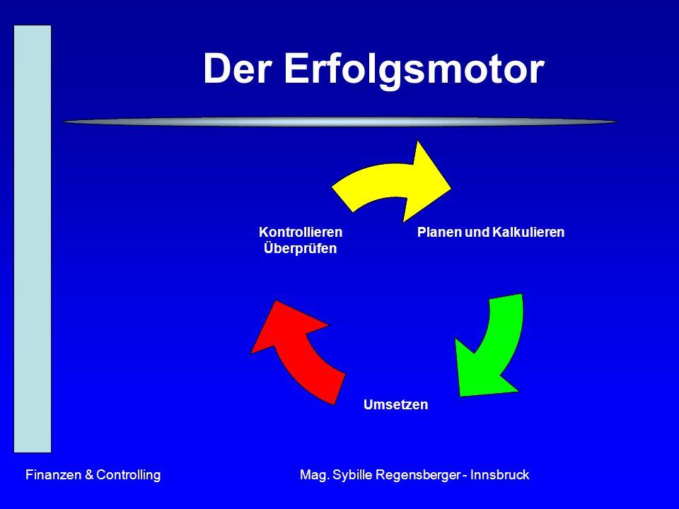 Finanzen & ControllingMag. Sybille Regensberger - Innsbruck Der Erfolgsmotor Planen und Kalkulieren Umsetzen Kontrollieren Überprüfen