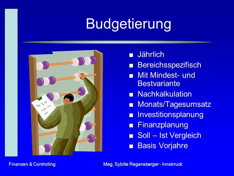 Finanzen & ControllingMag. Sybille Regensberger - Innsbruck Budgetierung Jährlich Bereichsspezifisch Mit Mindest- und Bestvariante Nachkalkulation Mon