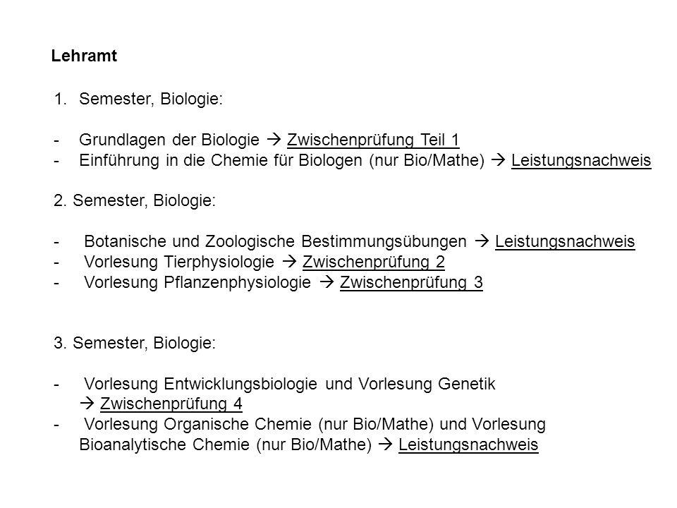 Lehramt 1.Semester, Biologie: -Grundlagen der Biologie Zwischenprüfung Teil 1 -Einführung in die Chemie für Biologen (nur Bio/Mathe) Leistungsnachweis 2.