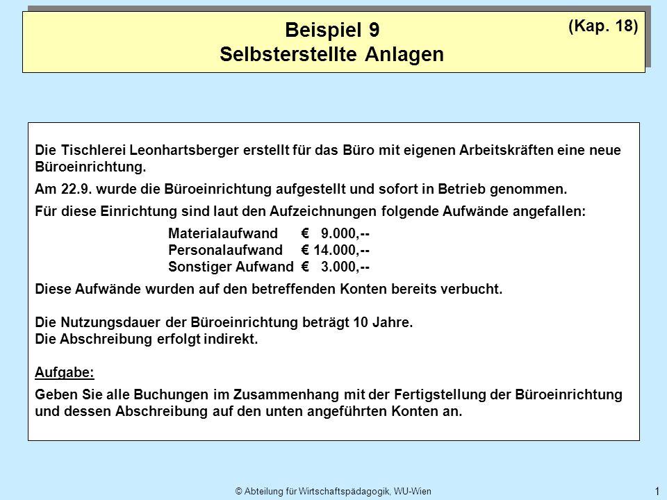 © Abteilung für Wirtschaftspädagogik, WU-Wien 1 Beispiel 9 Selbsterstellte Anlagen (Kap. 18) Die Tischlerei Leonhartsberger erstellt für das Büro mit