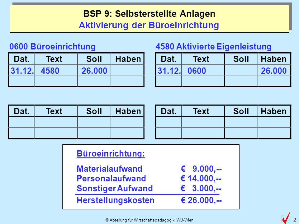 © Abteilung für Wirtschaftspädagogik, WU-Wien 2 Aktivierung der Büroeinrichtung BSP 9: Selbsterstellte Anlagen Dat.TextSollHabenDat.TextSollHaben Dat.