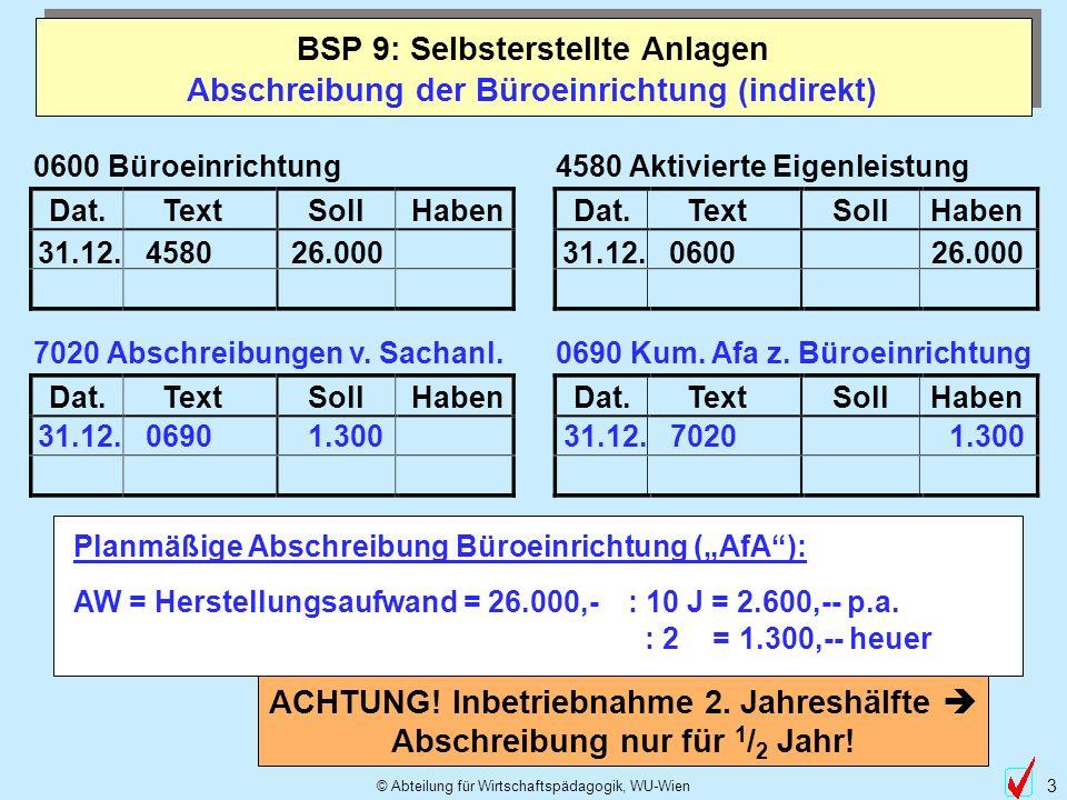 © Abteilung für Wirtschaftspädagogik, WU-Wien 3 Abschreibung der Büroeinrichtung (indirekt) BSP 9: Selbsterstellte Anlagen Dat.TextSollHabenDat.TextSo