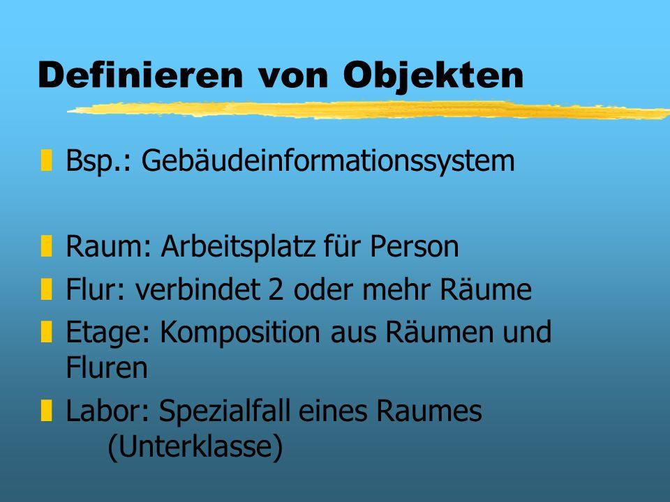Definieren von Objekten zBsp.: Gebäudeinformationssystem zRaum: Arbeitsplatz für Person zFlur: verbindet 2 oder mehr Räume zEtage: Komposition aus Räu