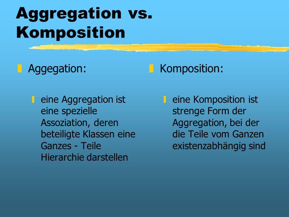 Aggregation vs. Komposition zAggegation: yeine Aggregation ist eine spezielle Assoziation, deren beteiligte Klassen eine Ganzes - Teile Hierarchie dar