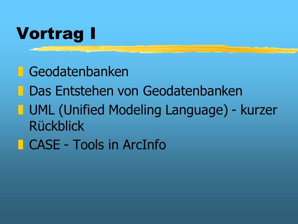 Vortrag I zGeodatenbanken zDas Entstehen von Geodatenbanken zUML (Unified Modeling Language) - kurzer Rückblick zCASE - Tools in ArcInfo