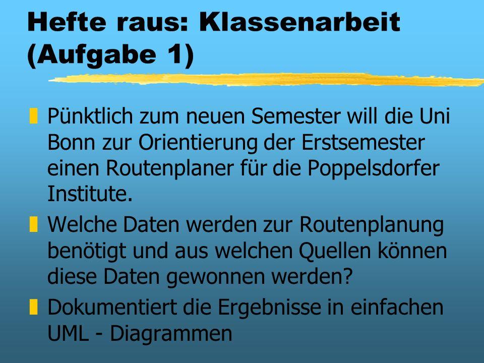 Hefte raus: Klassenarbeit (Aufgabe 1) zPünktlich zum neuen Semester will die Uni Bonn zur Orientierung der Erstsemester einen Routenplaner für die Pop