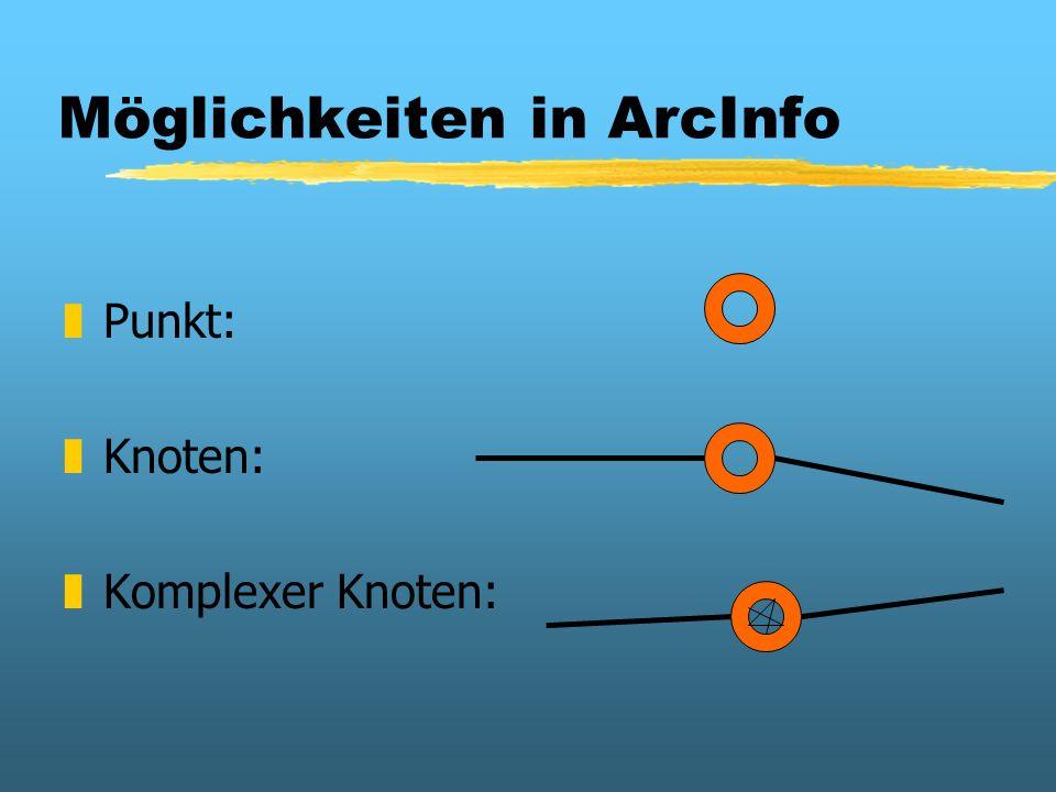 Möglichkeiten in ArcInfo zPunkt: zKnoten: zKomplexer Knoten: