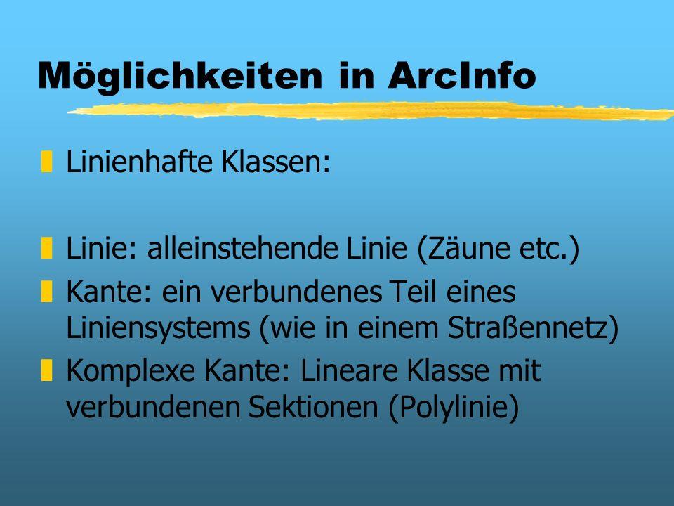 Möglichkeiten in ArcInfo zLinienhafte Klassen: zLinie: alleinstehende Linie (Zäune etc.) zKante: ein verbundenes Teil eines Liniensystems (wie in eine