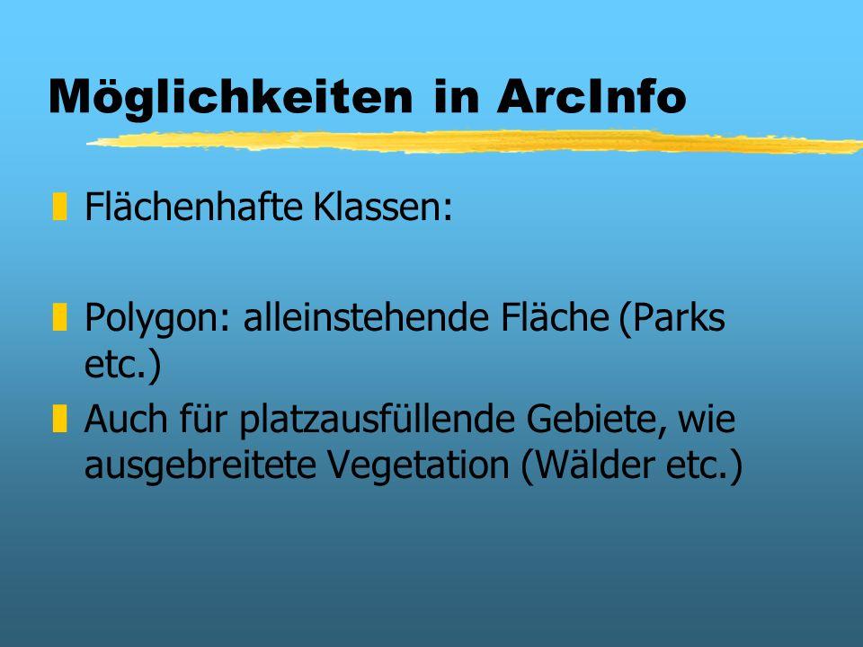 Möglichkeiten in ArcInfo zFlächenhafte Klassen: zPolygon: alleinstehende Fläche (Parks etc.) zAuch für platzausfüllende Gebiete, wie ausgebreitete Veg