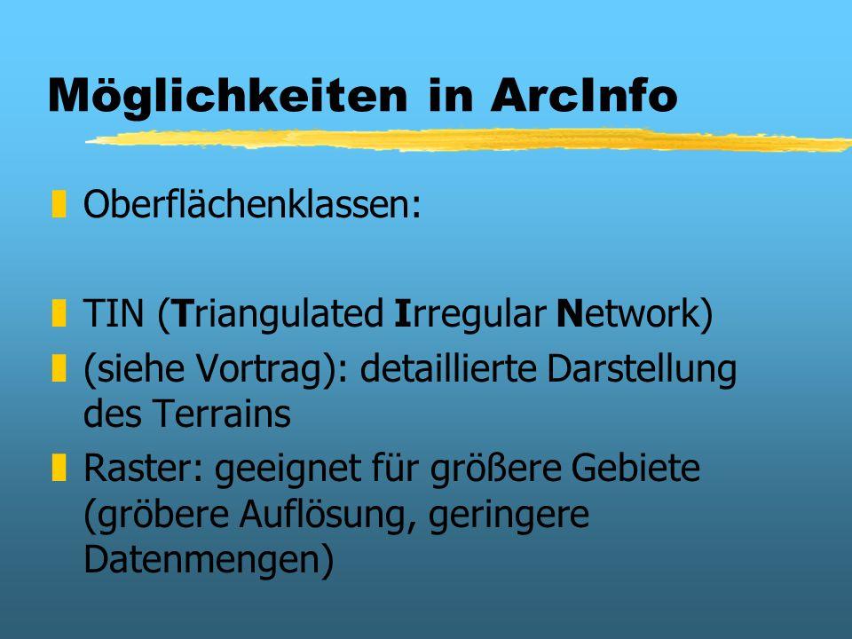Möglichkeiten in ArcInfo zOberflächenklassen: zTIN (Triangulated Irregular Network) z(siehe Vortrag): detaillierte Darstellung des Terrains zRaster: g